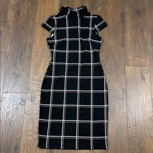 H&M window pane plaid black/white dress